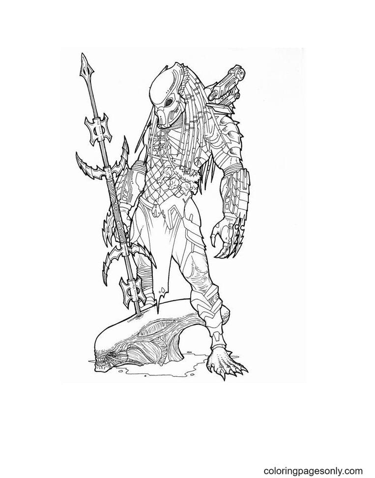 Alien Vs Predador Free Printable Coloring Page