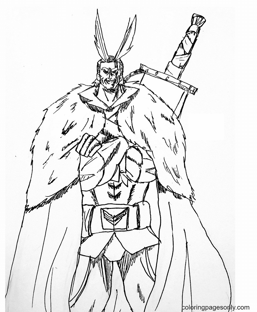 All Might with Sword Coloring Page