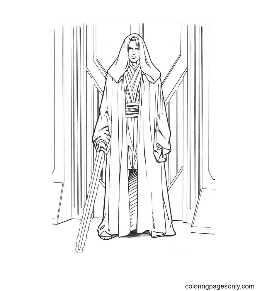 Anakin Skywalker with Sword Coloring Page