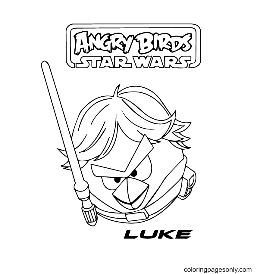 Angry Bird luke from Star Wars Coloring Page
