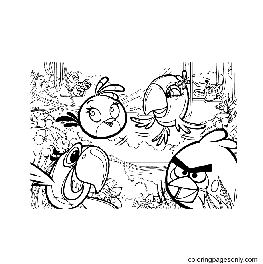 Angry Birds Big Puzzle Coloring Page