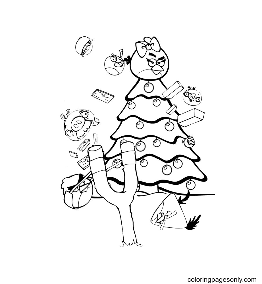 Angry Birds Christmas tree Coloring Page