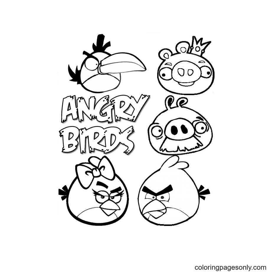 Angry Birds Free Coloring Page