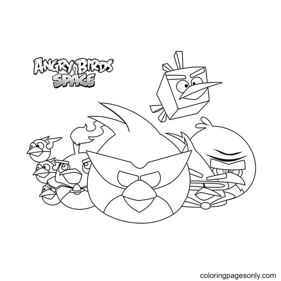 Angry Birds Space Printable Coloring Page