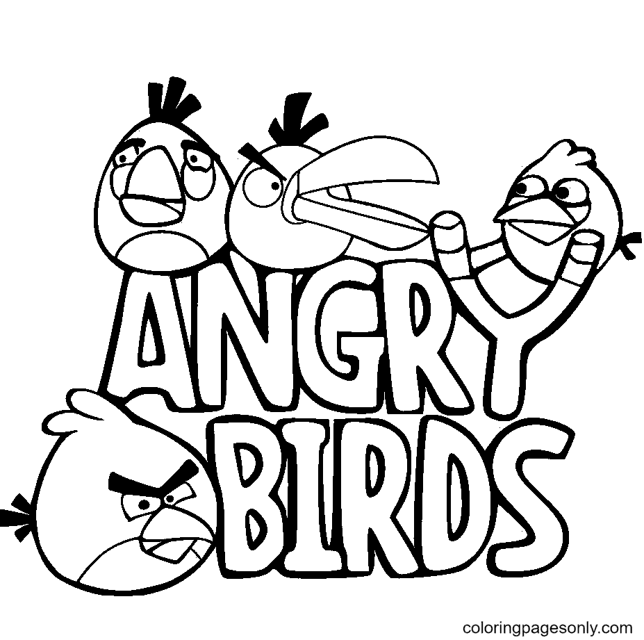 Angry Birds Title Poster Coloring Page
