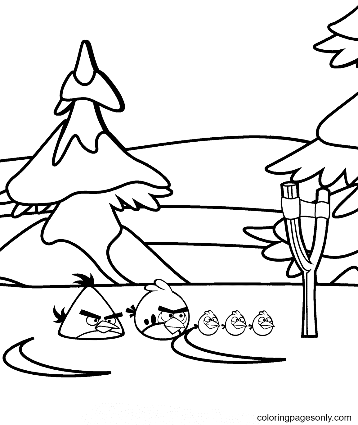 Angry Birds Winter Battles Coloring Page