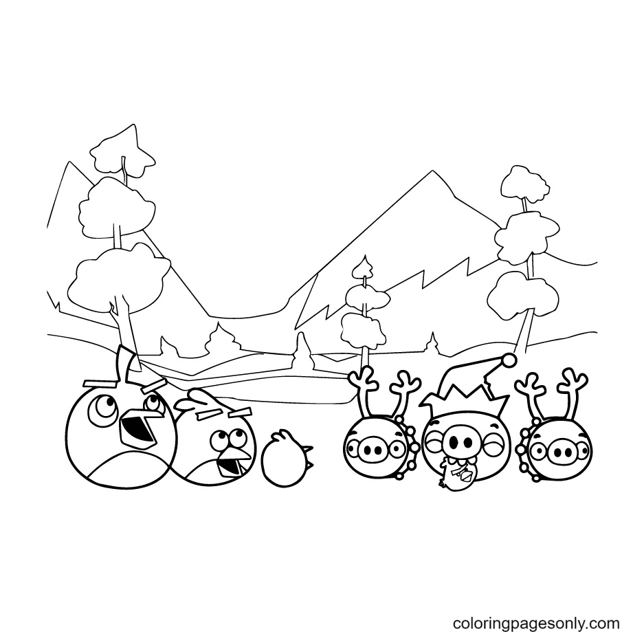 Angry Birds and Pigs Coloring Page