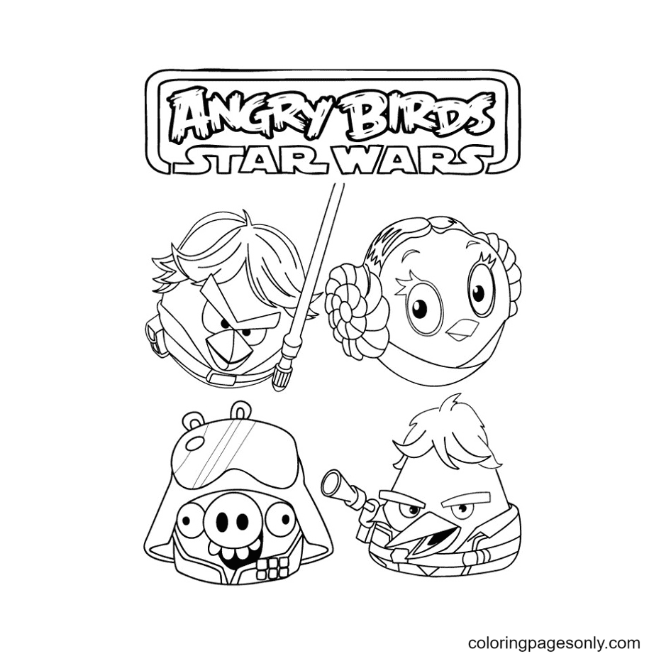 Angry Birds as Star Wars Coloring Page
