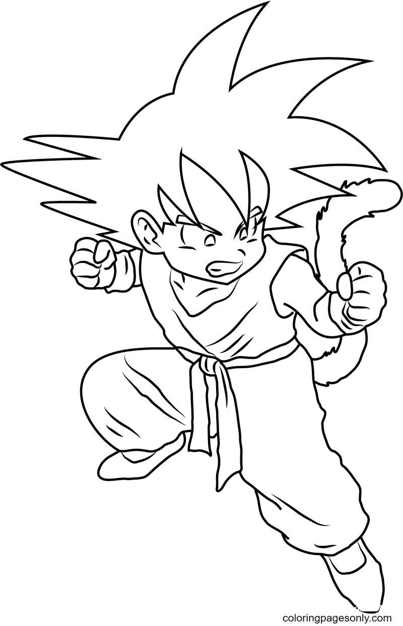 Angry Kid Goku Coloring Page