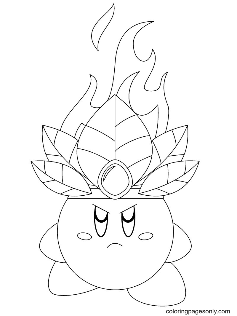 Angry Kirby Coloring Page
