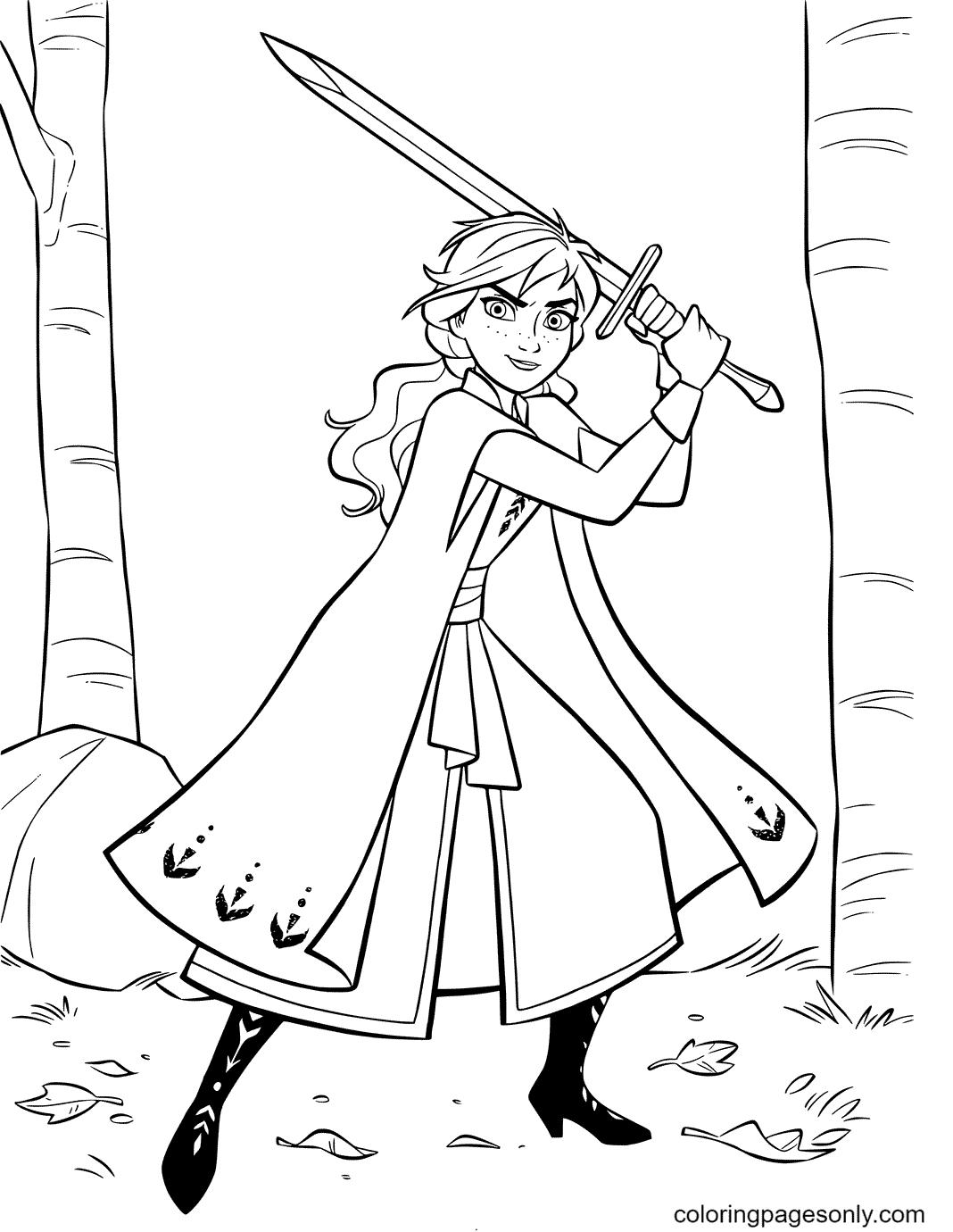 Anna with Sword Coloring Page