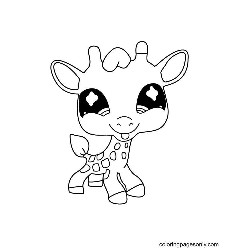 Baby Giraffe Littlest Pet Shop Coloring Page