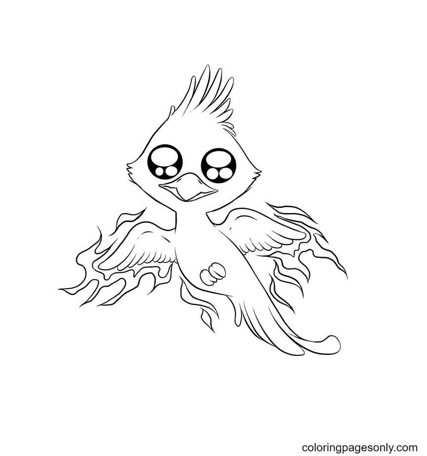 Baby Phoenix Coloring Page