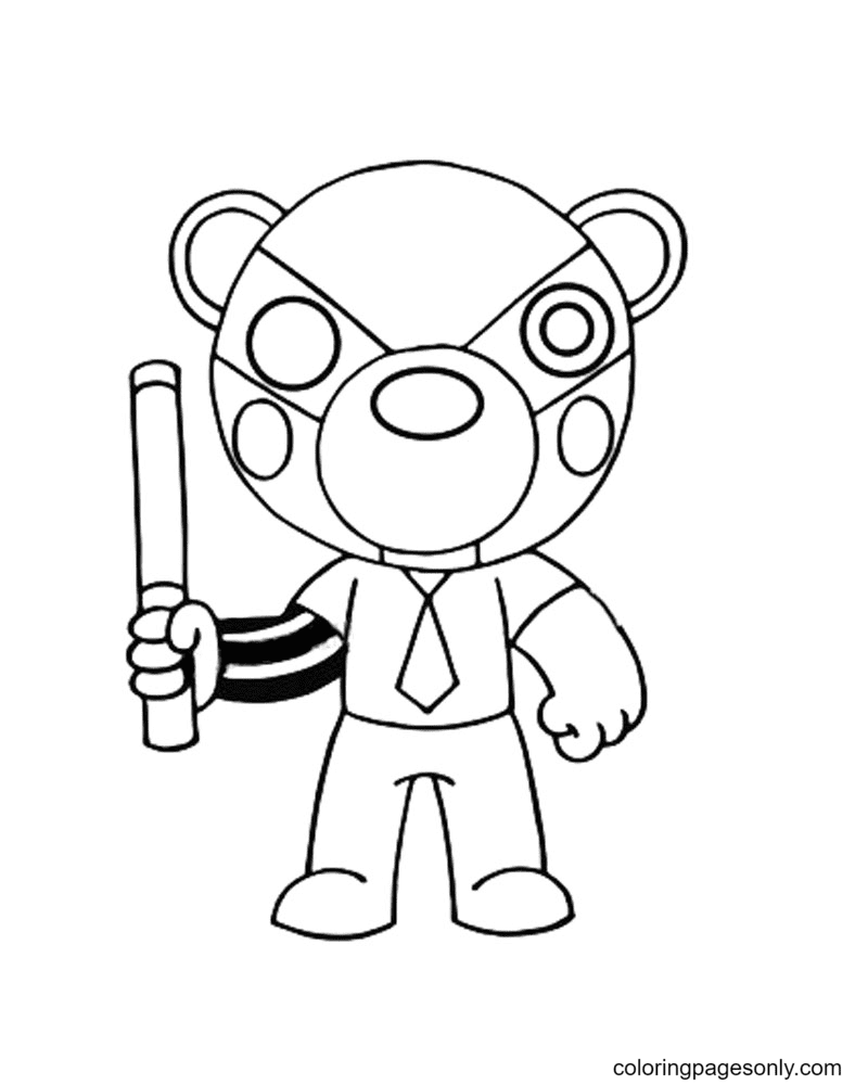 Badgy Piggy Coloring Page