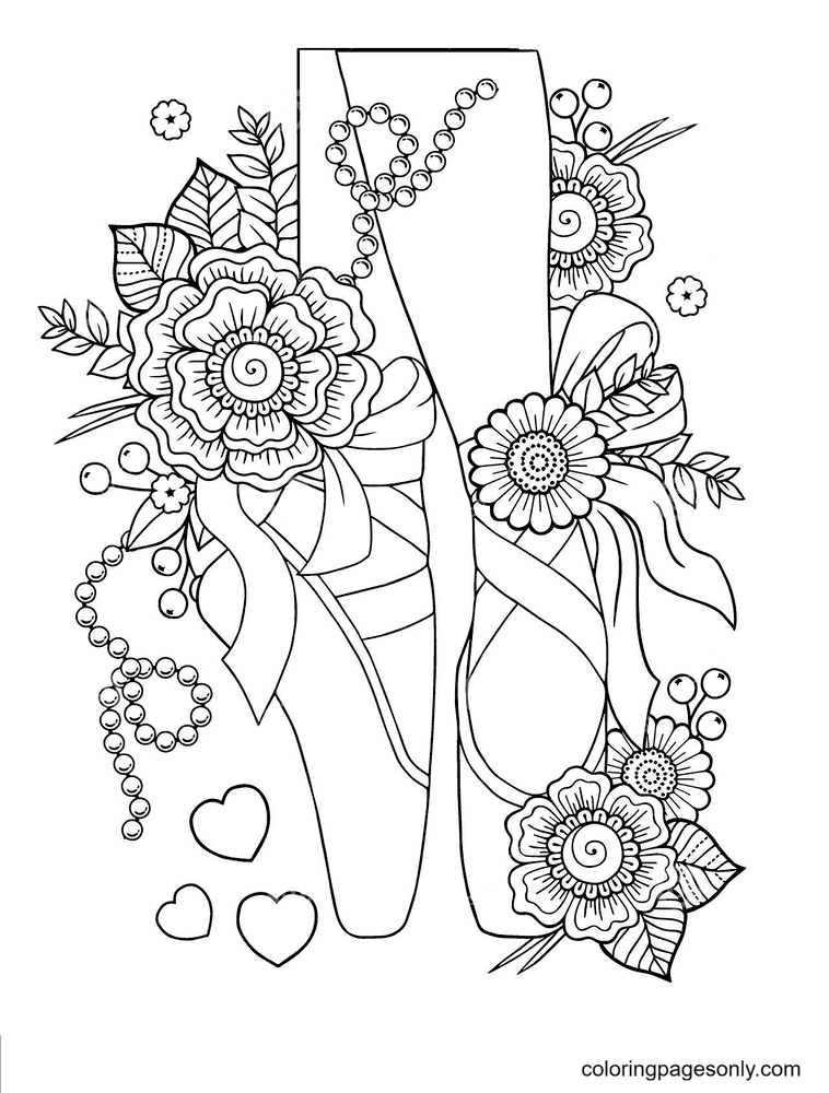 Ballerina Pointe Shoes Among Stylized Flowers Coloring Page
