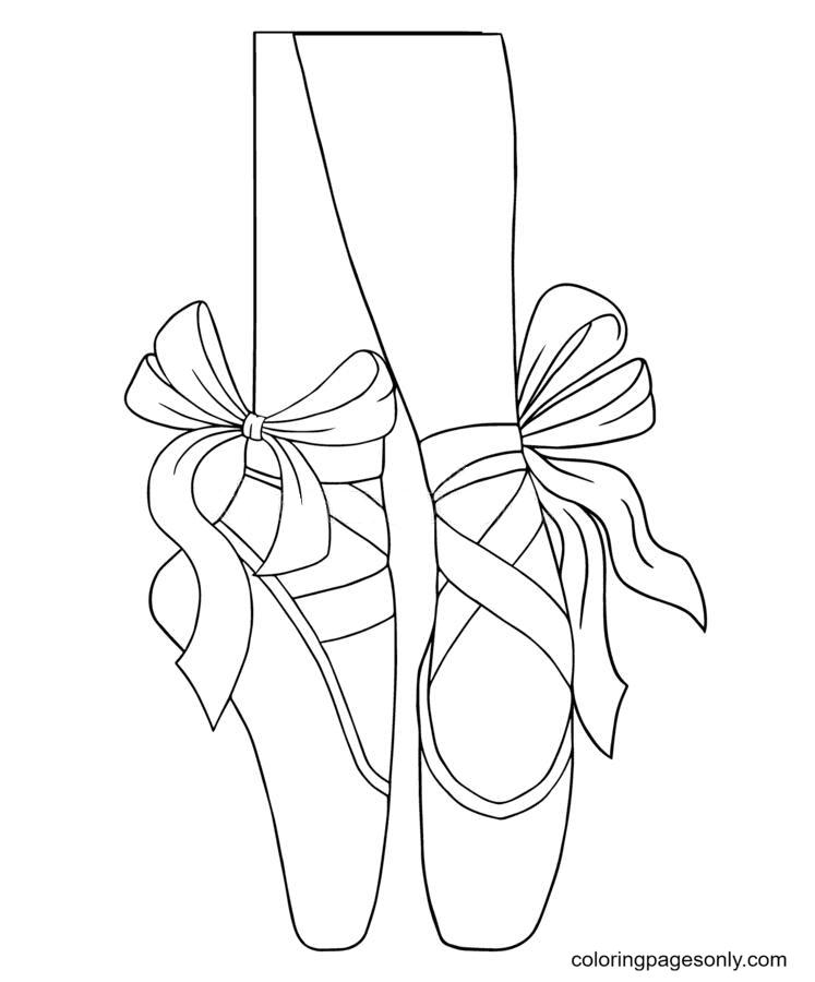 Ballet Pointe Shoes Coloring Page