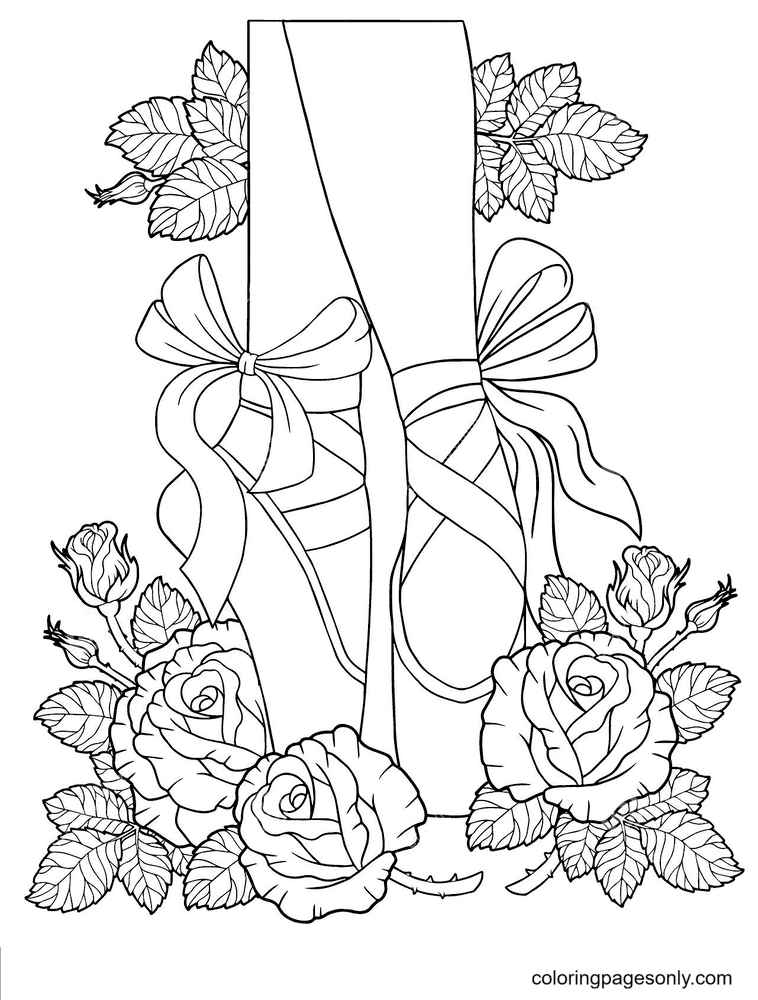Ballet in pointe Shoes among the Flowers of Roses Coloring Page