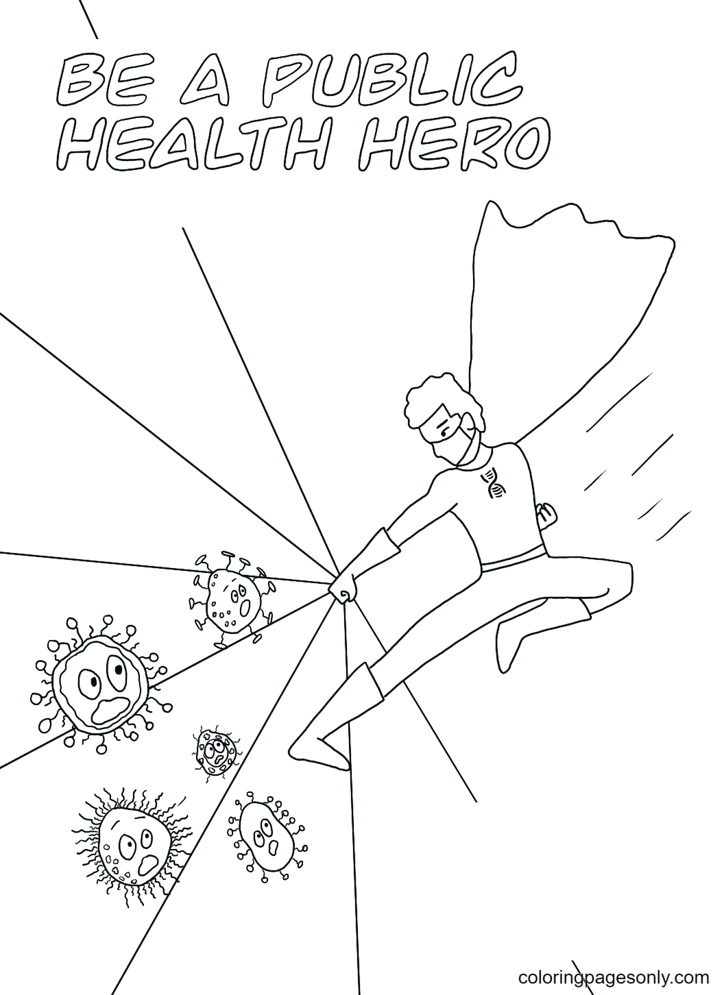 Be A Puplic Health Hero Coloring Page