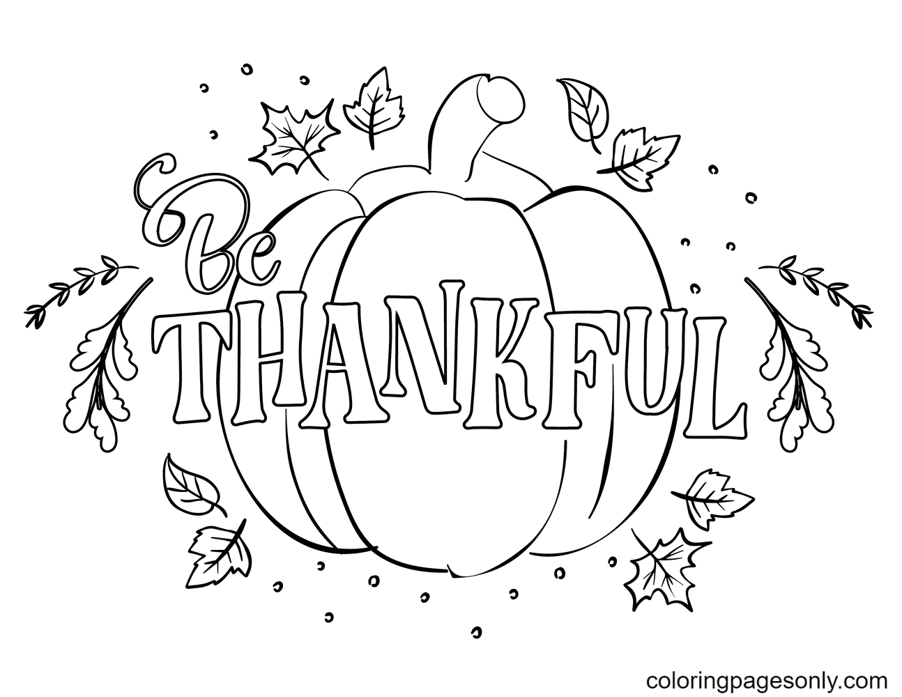 Be Thankful Coloring Page
