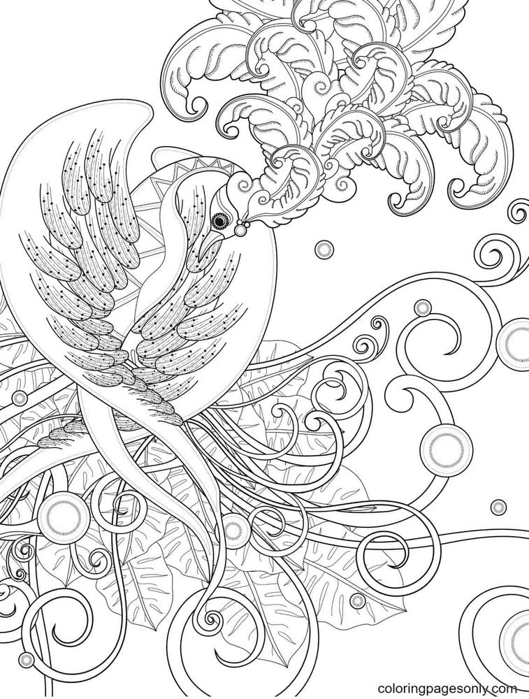 Beautiful Phoenix Coloring Page