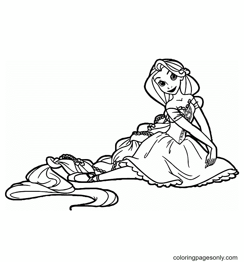 Beautiful Rapunzel Smiling Coloring Page