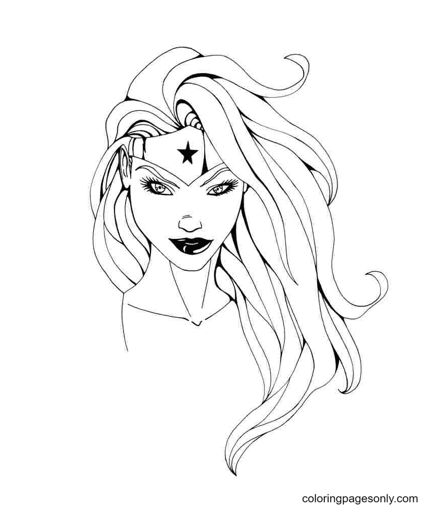 Beautiful Smile of Wonder Woman Coloring Page
