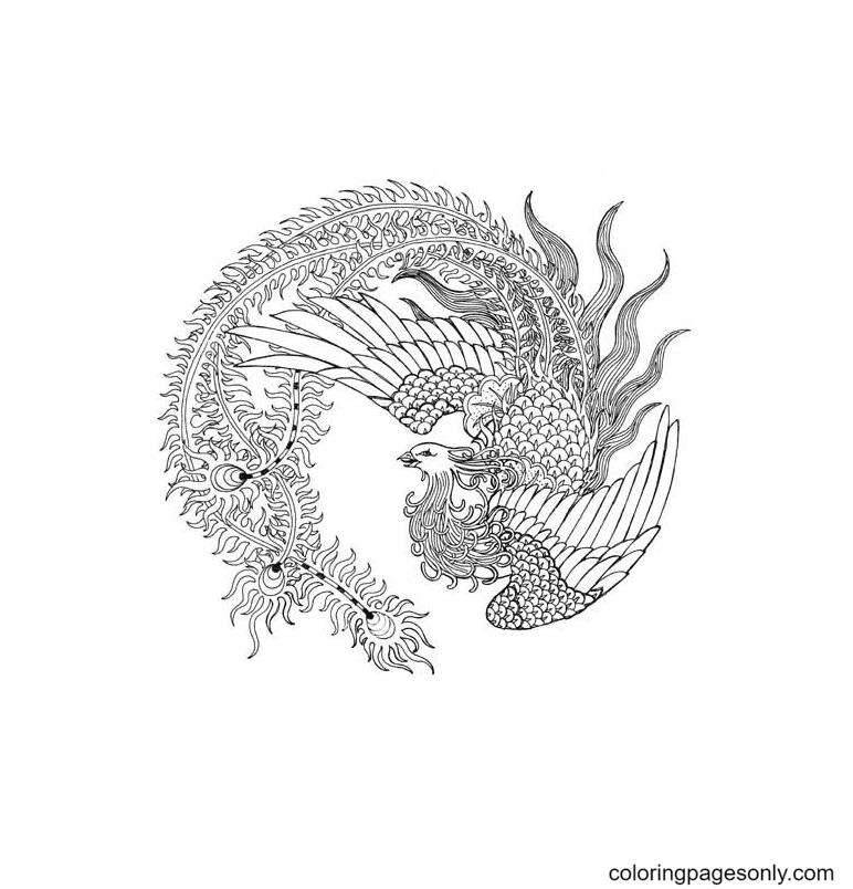 Bird Phoenix Free Printable Coloring Page