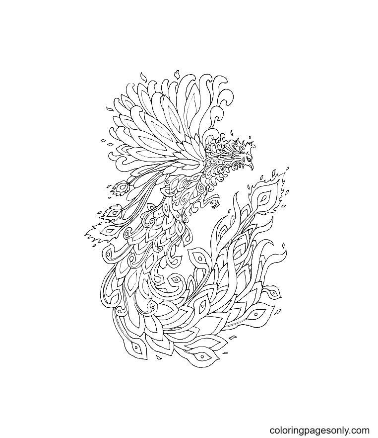 Bird Phoenix Picture Coloring Page