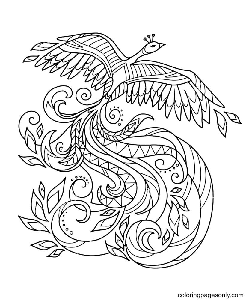 Bird Phoenix Printable Free Coloring Page
