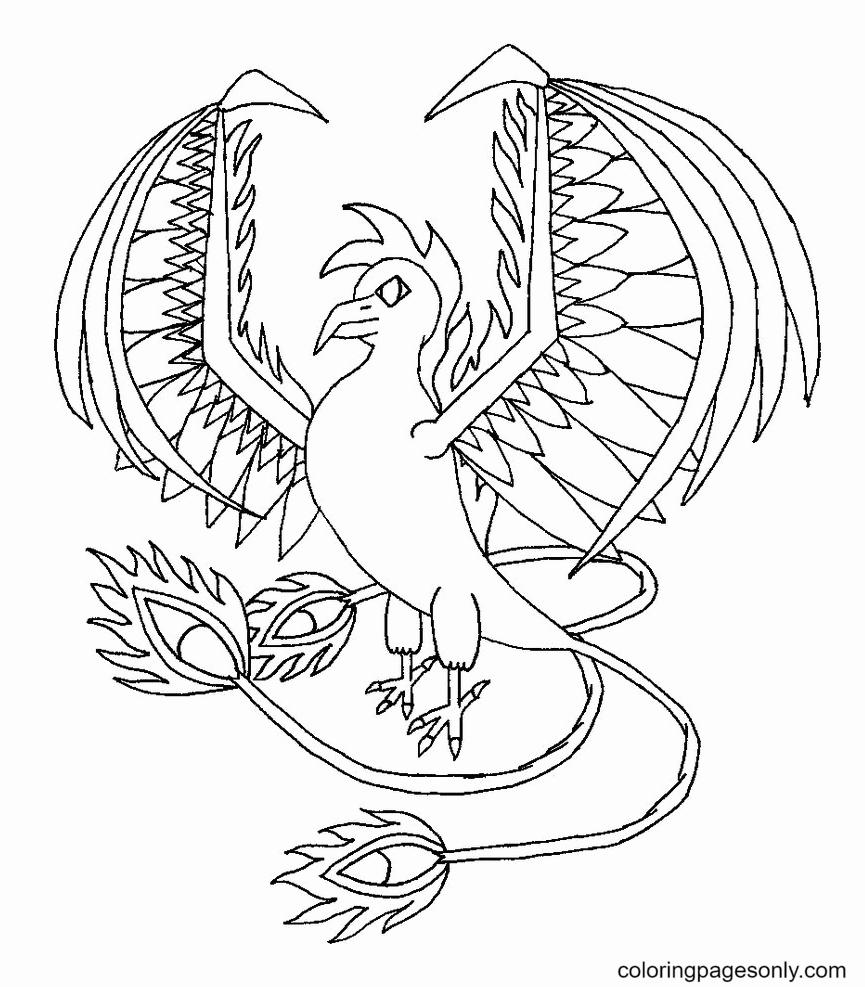 Bird Phoenix Printable Coloring Page