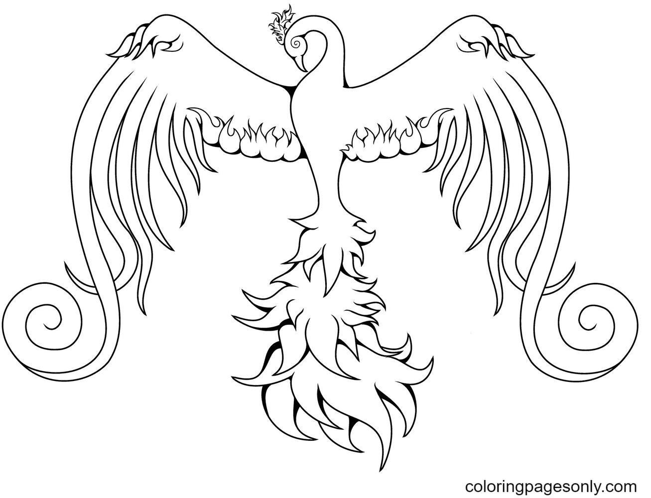 Bird Phoenix image Coloring Page