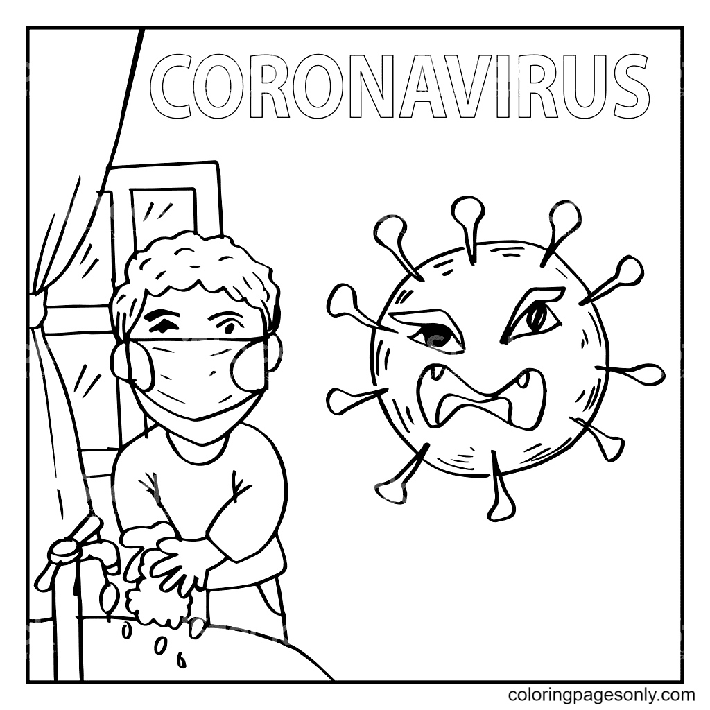 Boy Washing Hand Dealing Coronavirus Coloring Page