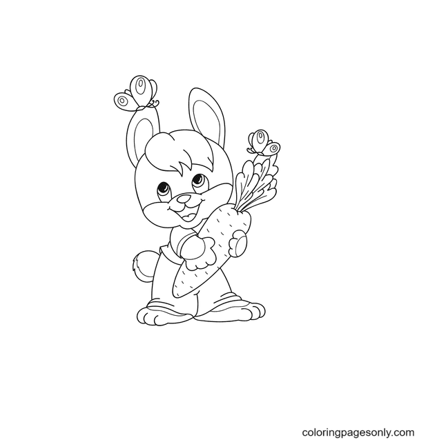 Bunny Hold a Carrot Coloring Page