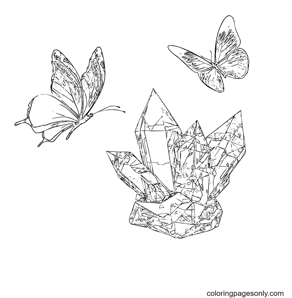 Butterfly And Crystals Coloring Page