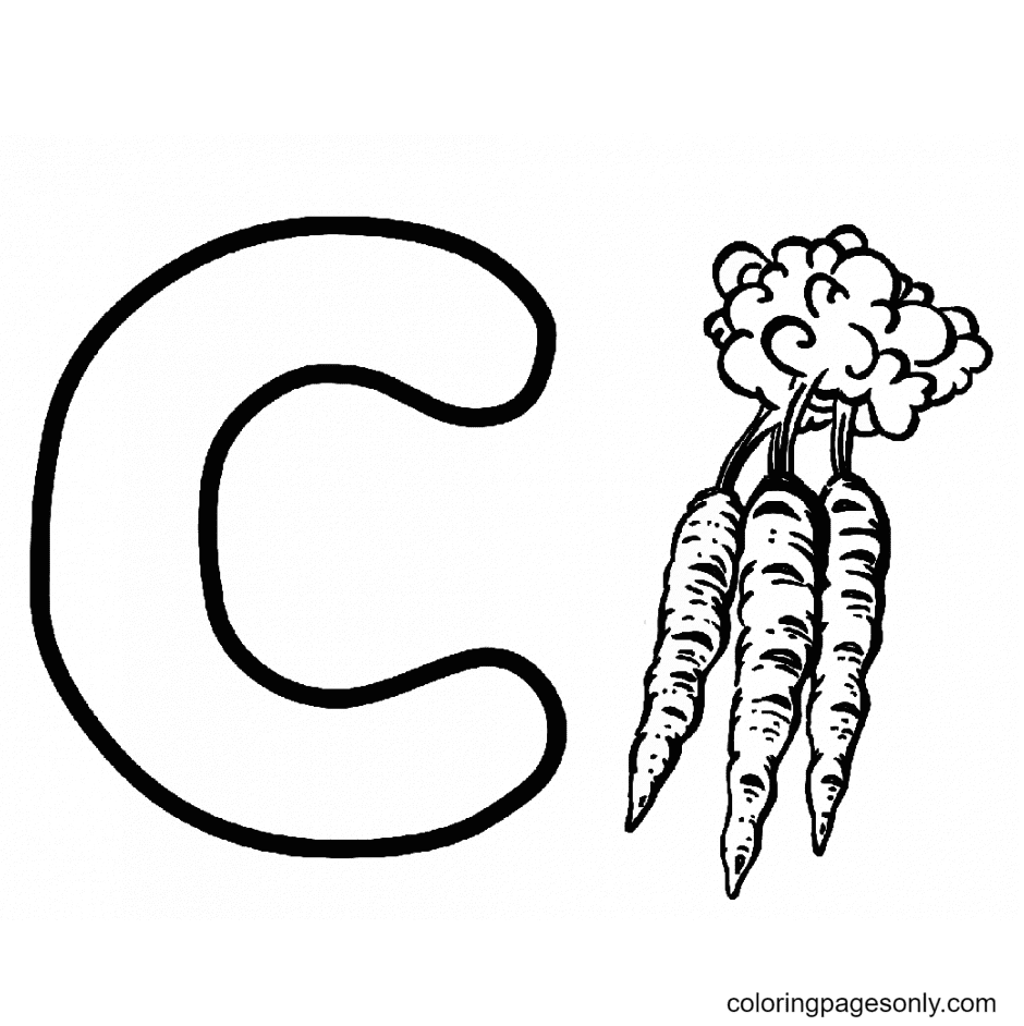 C For Carrot Coloring Page