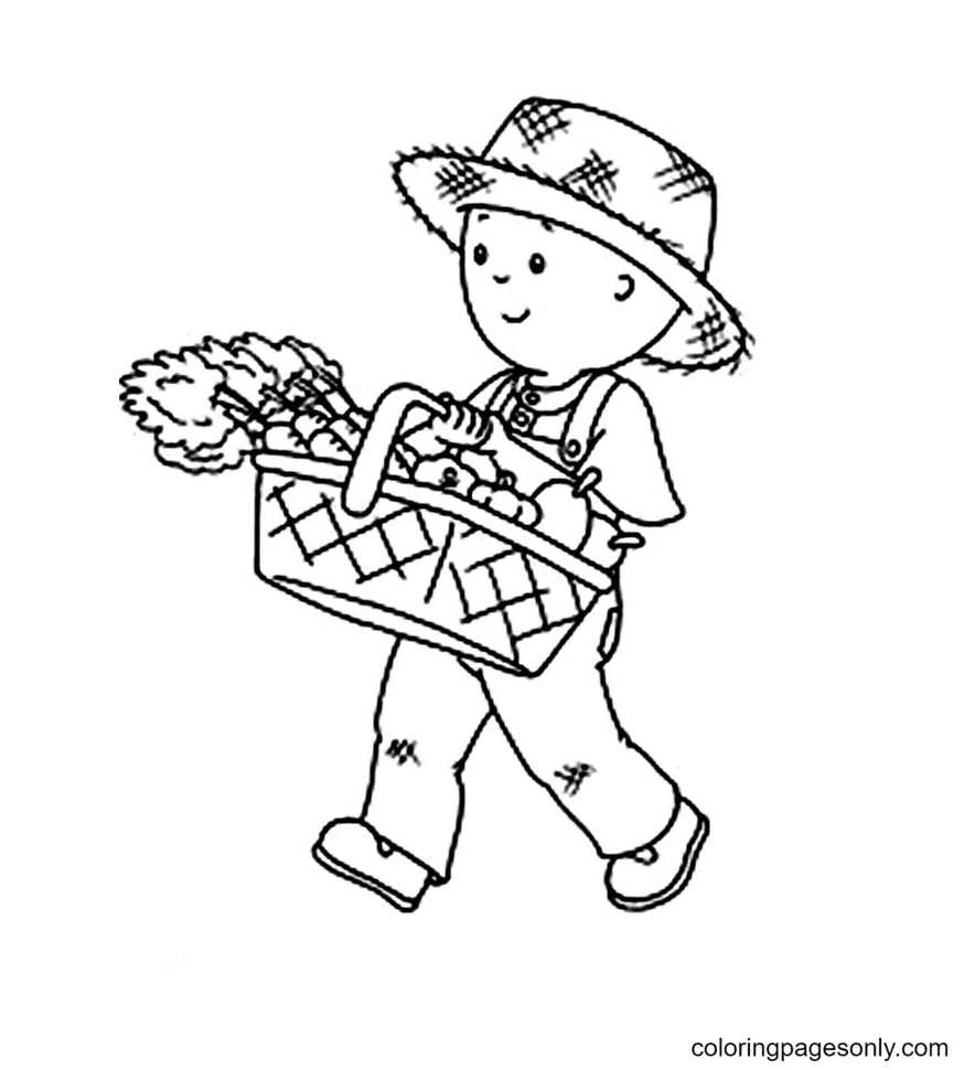 Caillou Harvest Carrot Coloring Page