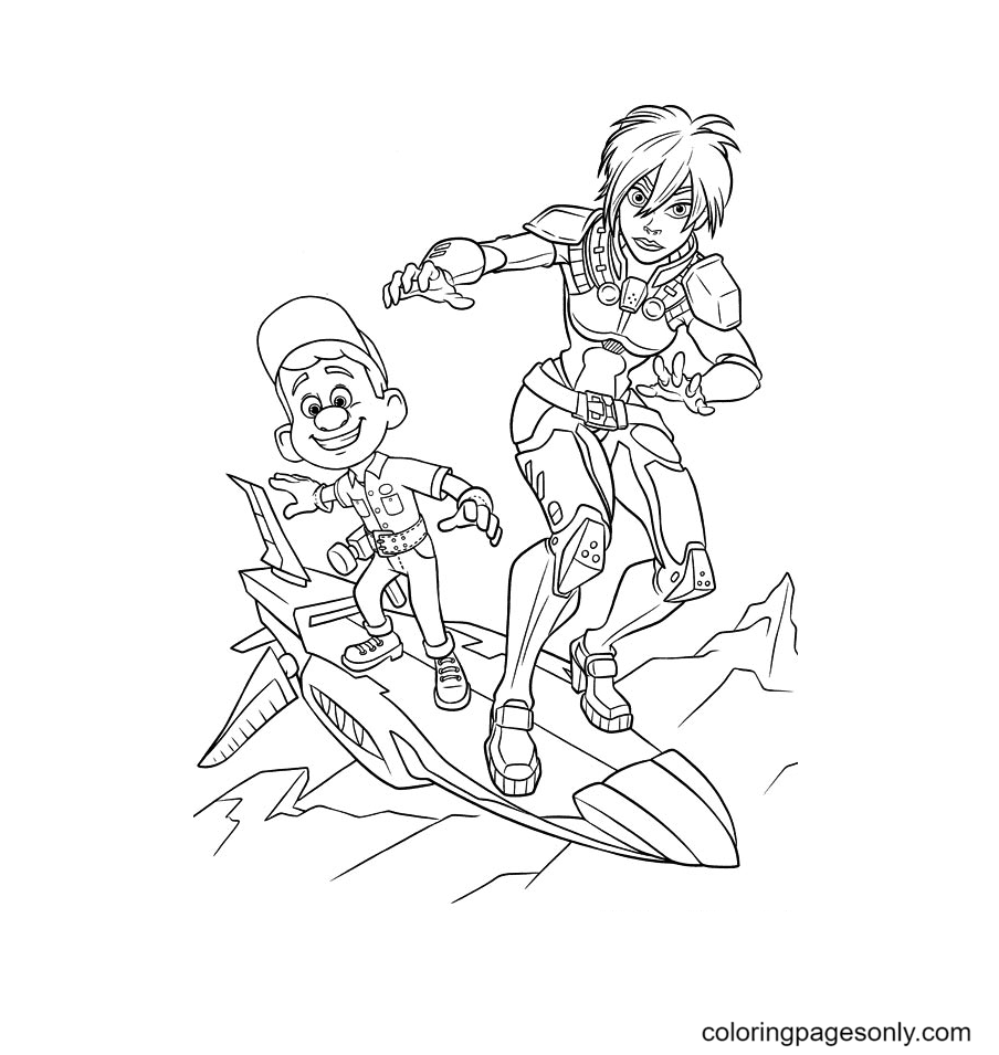 Calhoun and Felix on the Plane Coloring Page
