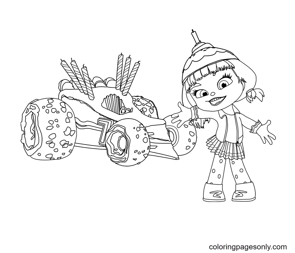 Candlehead and Her Racing Car Coloring Page