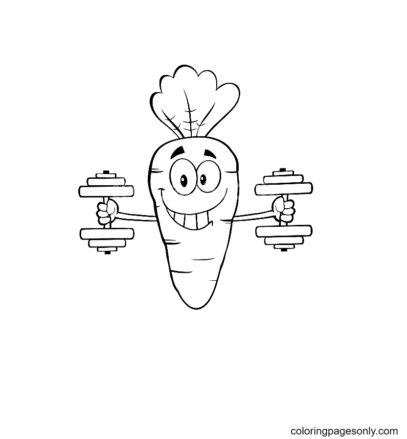 Carrots Lifting Dumbbells Coloring Page
