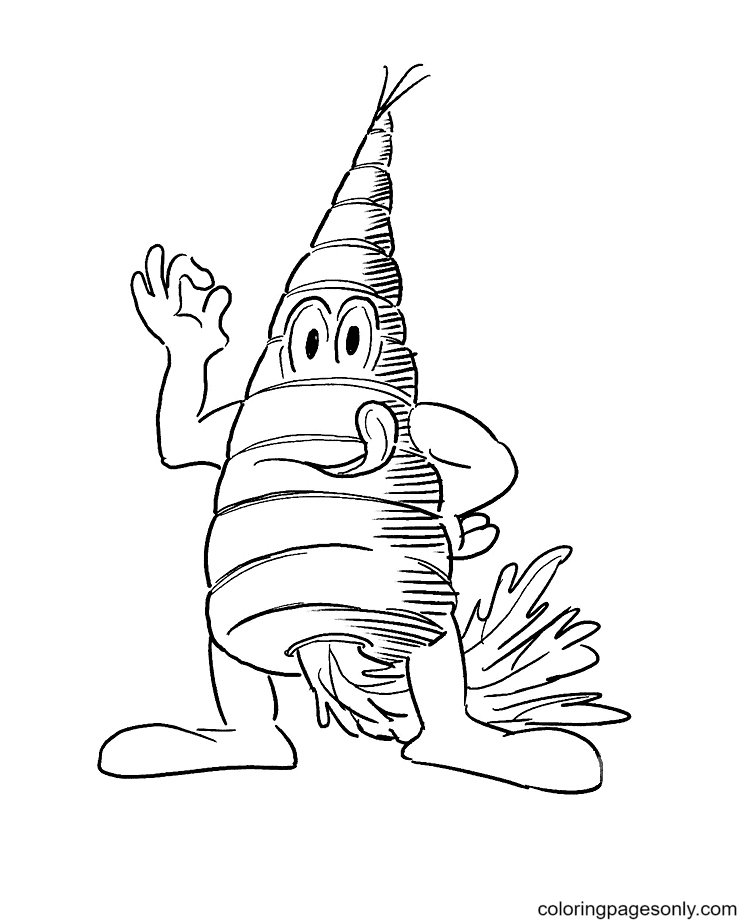 Cartoon like Carrot character Coloring Page