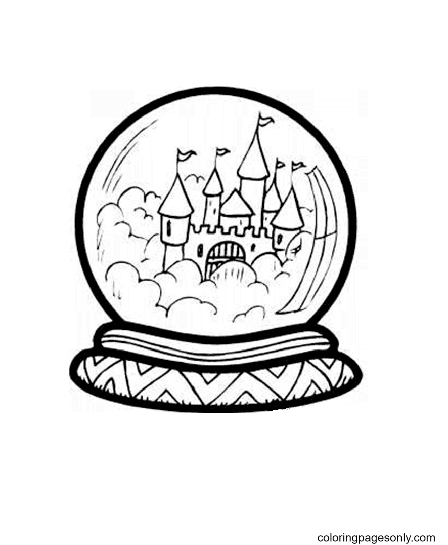 Castle In Crystal Ball Coloring Page