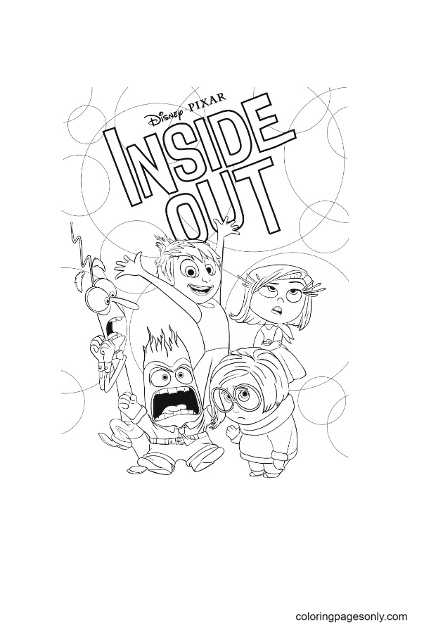 Characters in Inside Out Disney Coloring Page