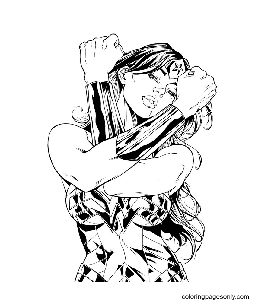 Charming Wonder Woman Coloring Page