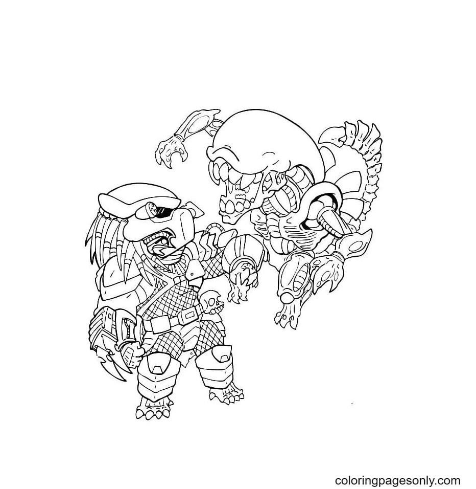 Chibi Alien, Predator Coloring Page