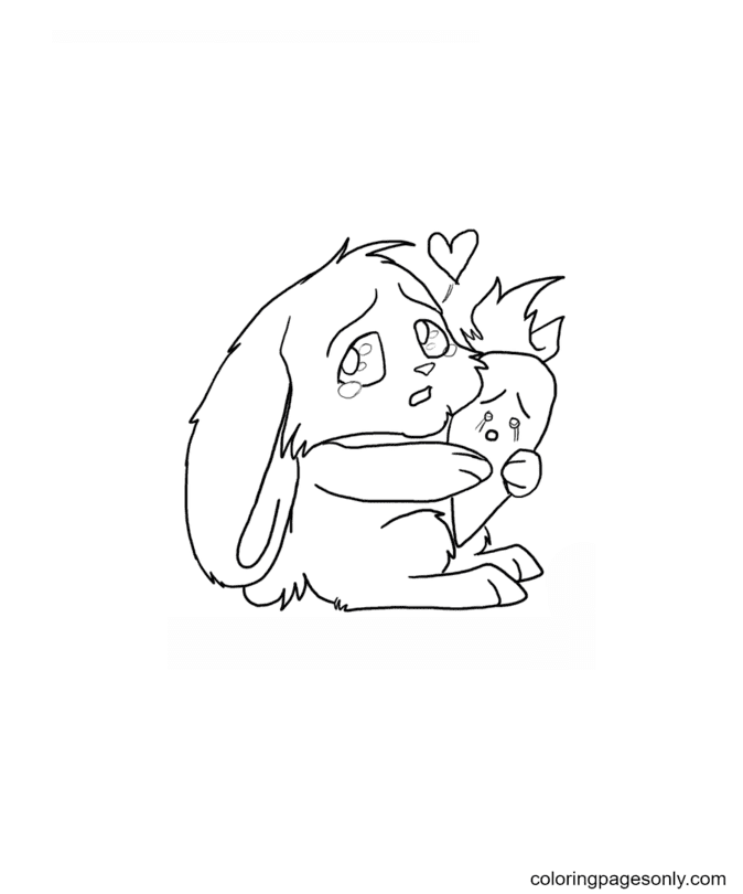 Chibi Bunny With Carrot Coloring Page