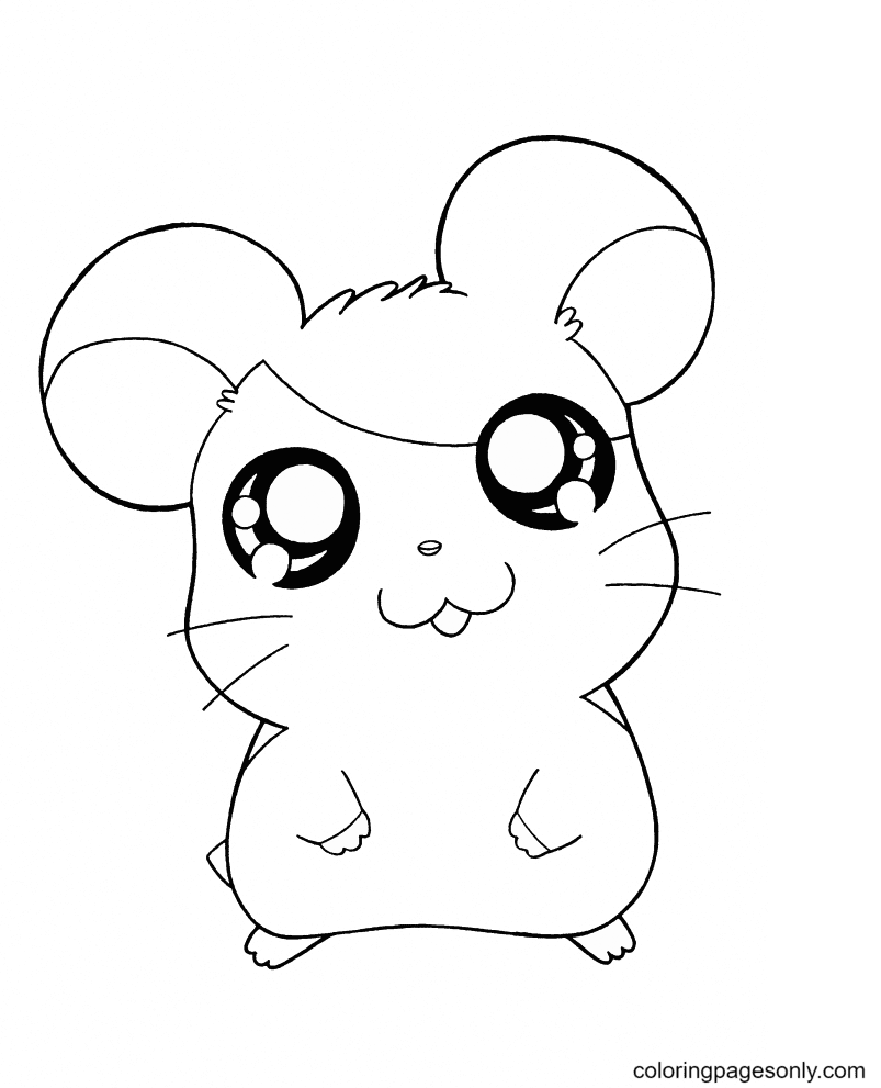 Chibi Hamster Coloring Page