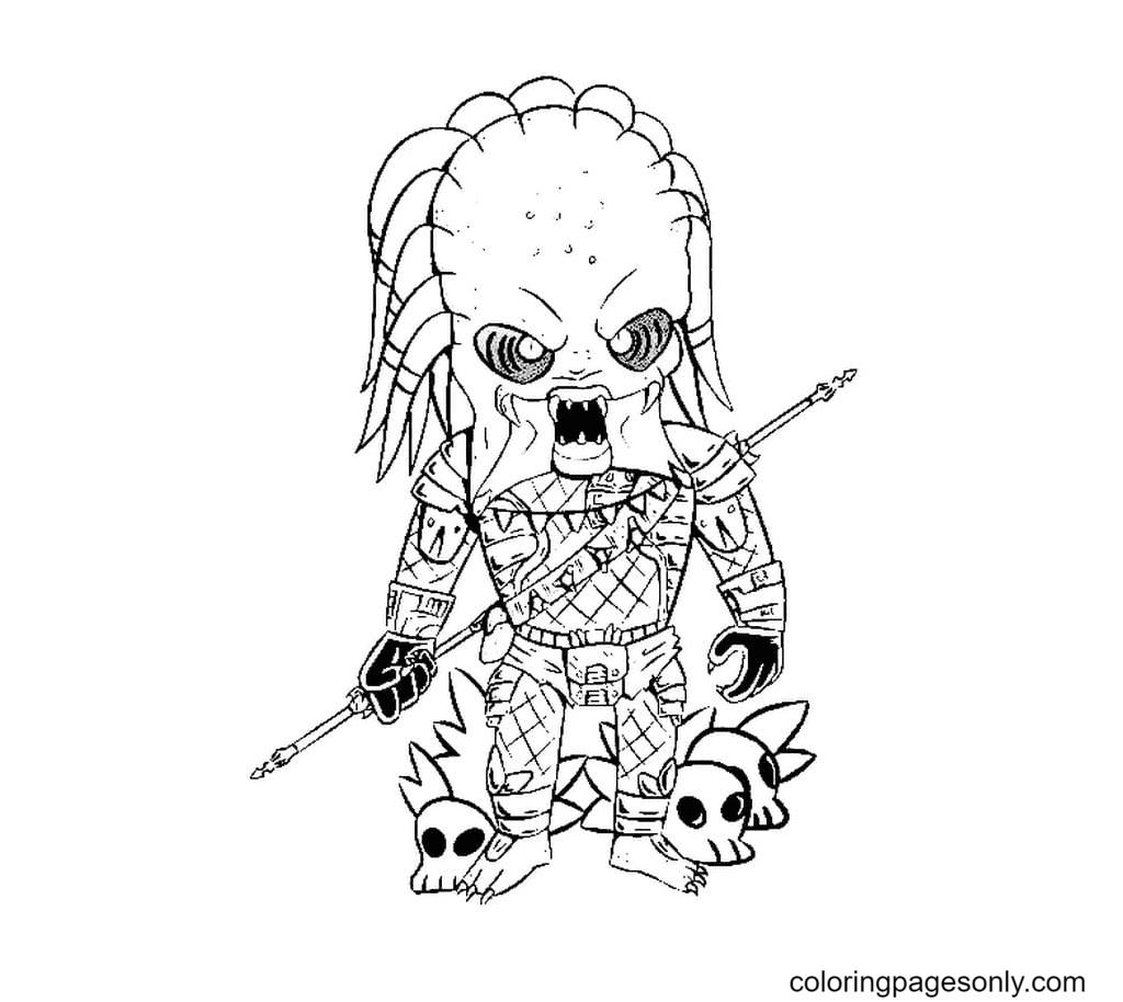 Chibi Predator free Coloring Page