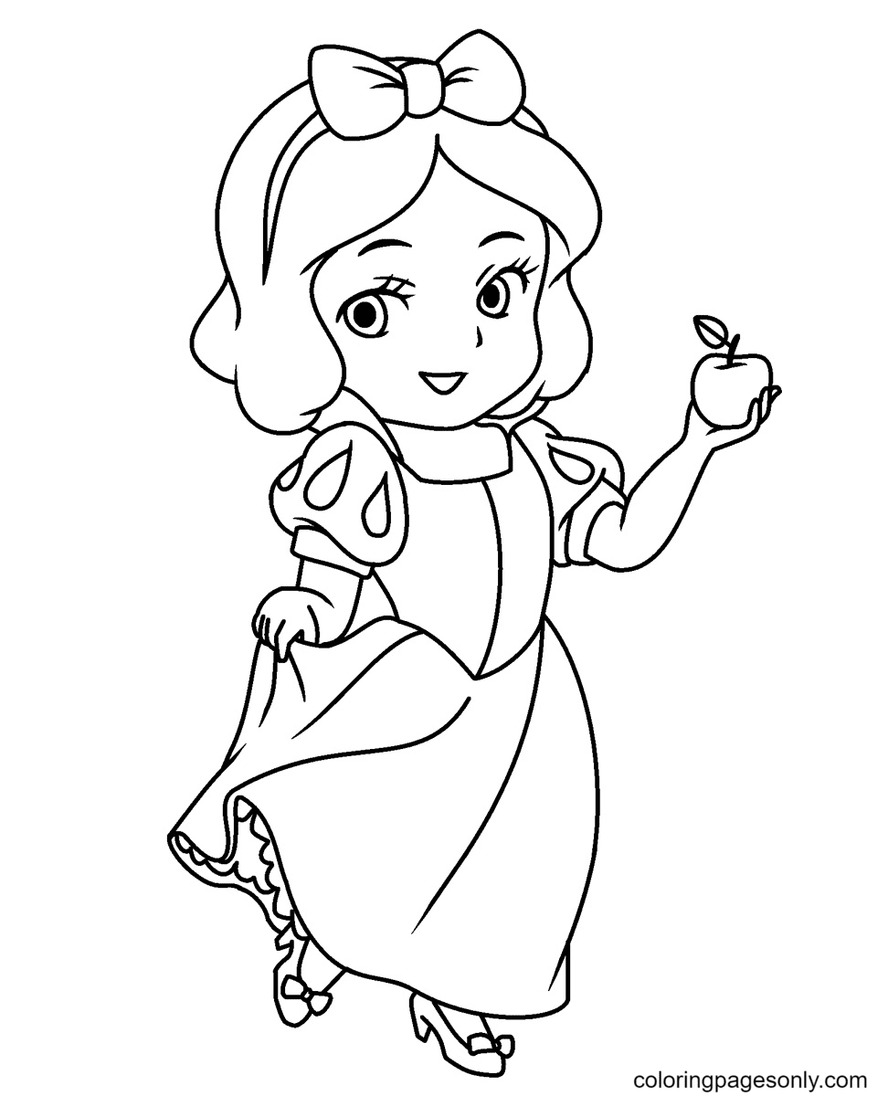 Chibi Snow White Coloring Page