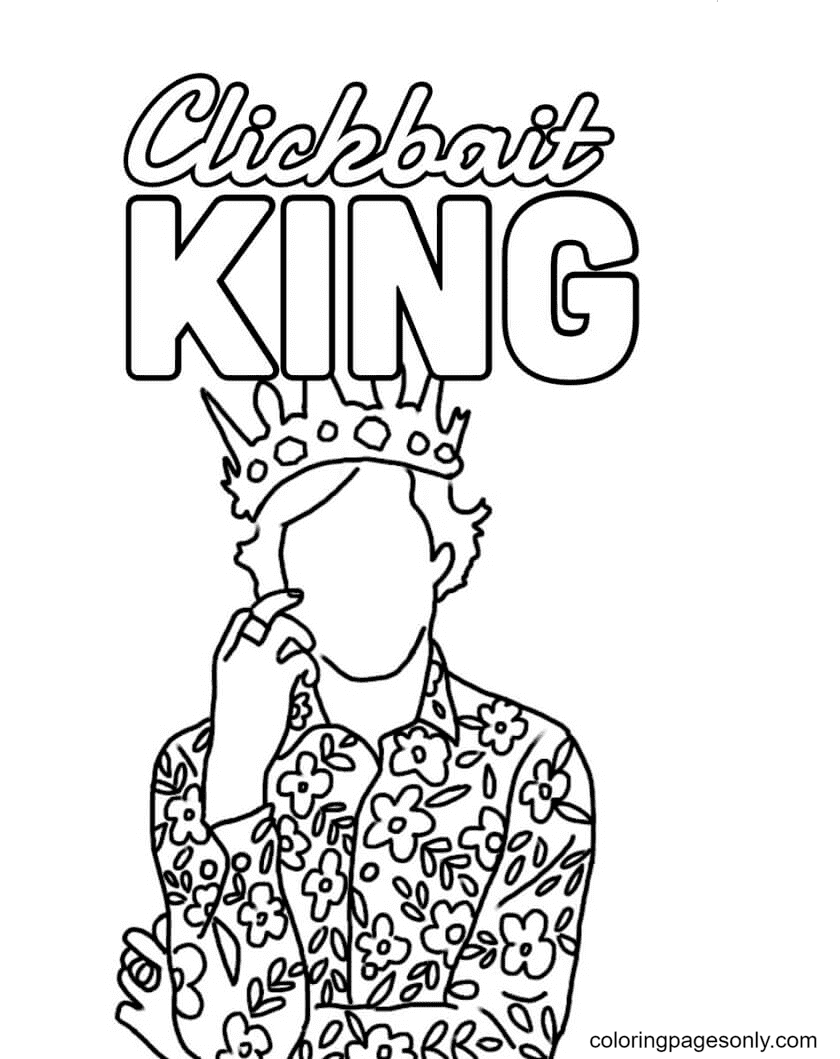 Clickbait King TikTok Coloring Page