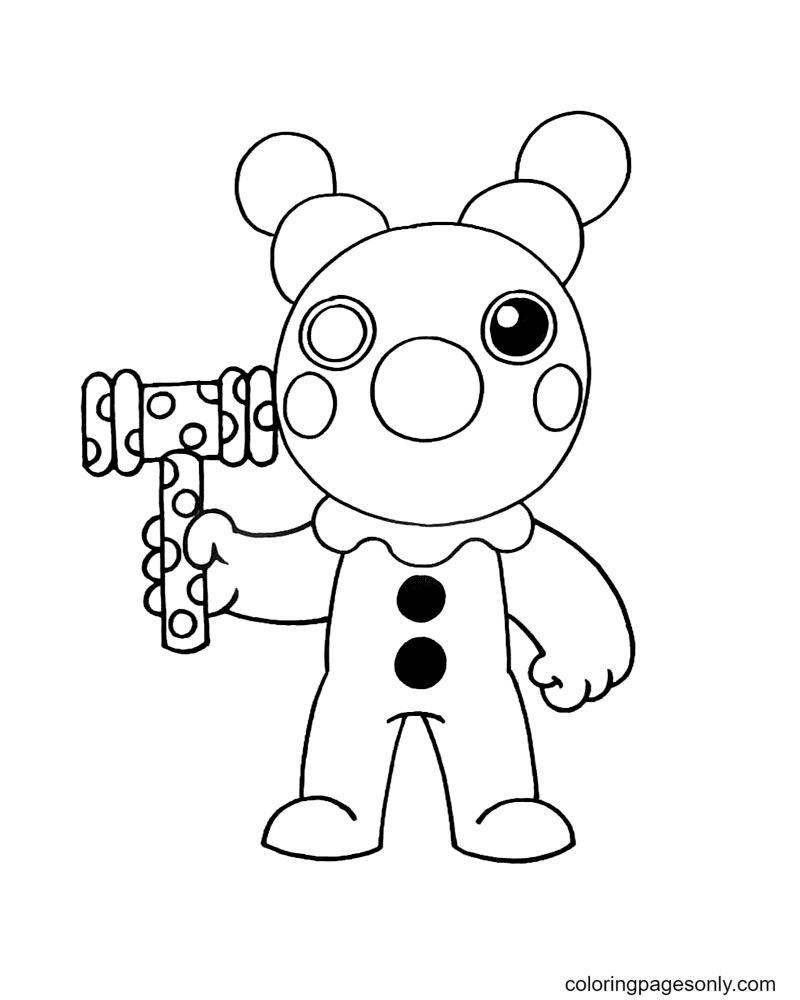Clowny Piggy Coloring Page
